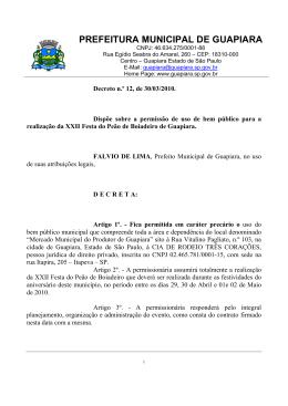 PREFEITURA MUNICIPAL DE GUAPIARA