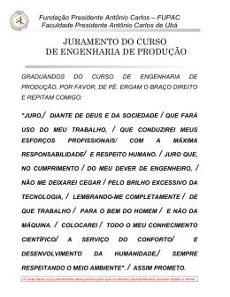 juramento do curso de engenharia de produção