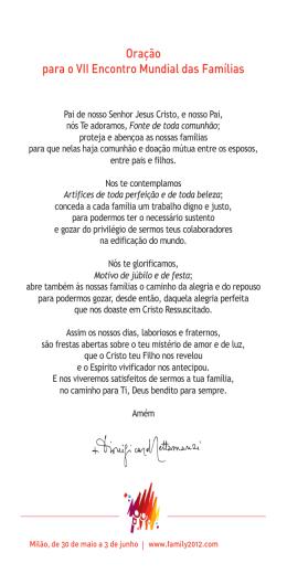 Oração para o VII Encontro Mundial das Famílias