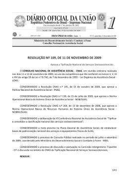 Resolução nº 109, de 11 de Novembro de 2009