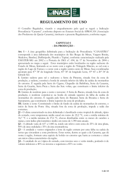 Regulamento de Uso da marca CANASTRA para queijo artesanal