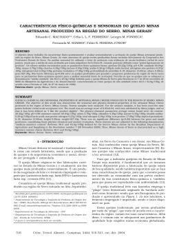 características físico-químicas e sensoriais do queijo minas