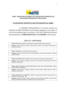 VI ENCONTRO CIENTÍFICO DOS ESTUDANTES DA AEMS