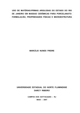 USO DE MATÉRIAS-PRIMAS ARGILOSAS DO ESTADO DO
