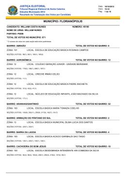 município: florianópolis - Tribunal Regional Eleitoral de Santa