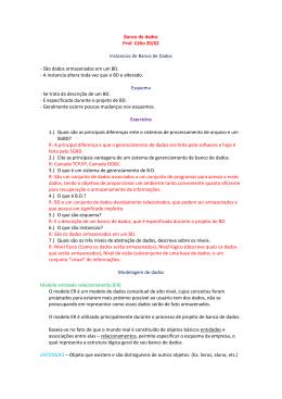 Banco de dados Prof. Célio 20/02 Instancias de Banco de Dados