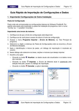 Guia Rápido de Importação de Configurações e Dados