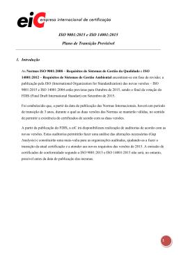ISO 9001:2015 e ISO 14001:2015 Plano de Transição Previsível