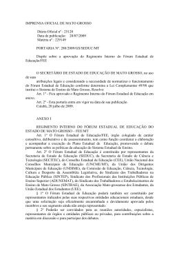 Regimento Interno do Fórum Estadual de Educação/FEE