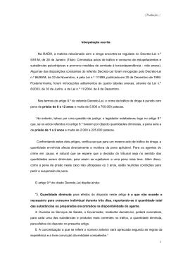 (Tradução) 1 Interpelação escrita Na RAEM, a matéria relacionada
