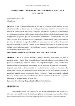 CLASSIFICANDO CUSTOS FIXOS E VARIÁVEIS POR