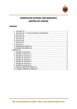 Lista de Exercícios sobre Ponto de Equilíbrio c