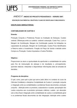 Ementa - Contabilidade de Custos II (pdf 24KB).
