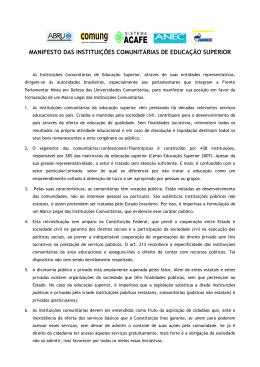 MANIFESTO DAS INSTITUIÇÕES COMUNITÁRIAS DE EDUCAÇÃO