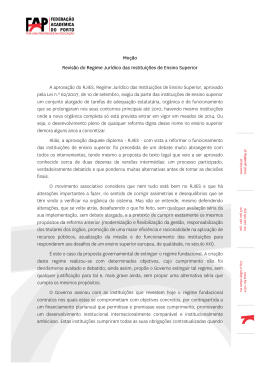 Moção: Regime Jurídico das Instituições de Ensino Superior