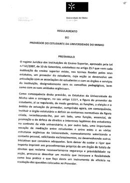 PROVEDOR DO ESTUDANTE DA UNIVERSIDADE DO MINHO O