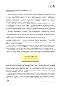 REPUTAÇÃO DAS INSTITUIÇÕES DE PESQUISA E