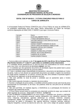 Convocação Segunda Etapa - Jornalista - CGIC