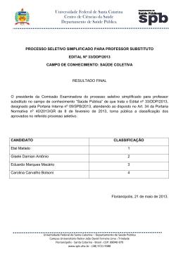 Lista de Aprovados Concurso Edital 33DDP2013 SPB
