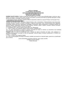 EDITAL Nº 002/2009 ALTERA EDITAL DE CONCURSO EDITAL DE