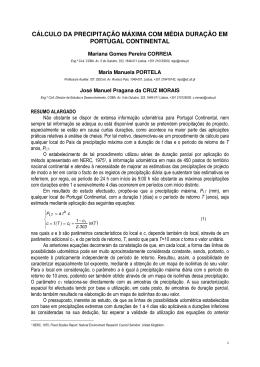 cálculo da precipitação máxima com média duração em portugal