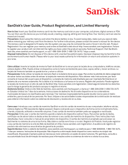 SanDisk`s User Guide, Product Registration, and Limited Warranty