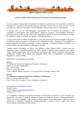 Ativista Vandana Shiva fará palestra de abertura da Conferência