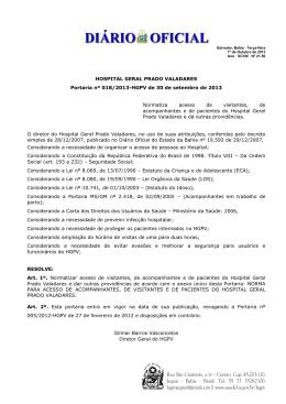 Norma para Visitantes e Acompanhantes do HGPV
