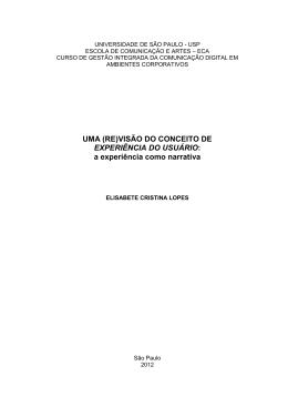 UMA (RE)VISÃO DO CONCEITO DE EXPERIÊNCIA DO USUÁRIO