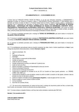 Fundação Estatal Saúde da Família – Bahia CNPJ