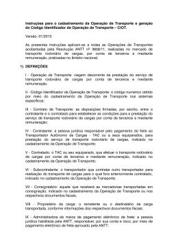 Instruções para o cadastramento das Operações de