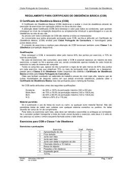 Regulamento para certificado de Obediência Básica (COB)