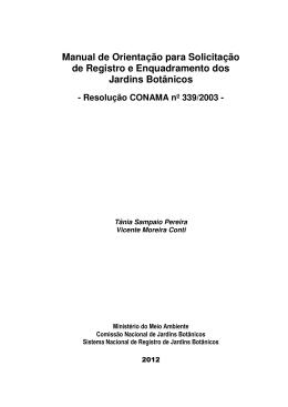 Manual de Orientação para Solicitação de Registro e
