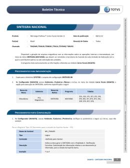 Boletim Técnico SINTEGRA NACIONAL - TDN