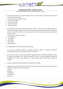 EXERCÍCIOS EXTRAS – REINO PLANTAE Professora: Giselle