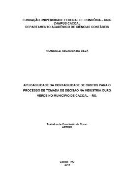 APLICABILIDADE DA CONTABILIDADE DE CUSTOS PARA