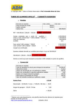 TUBOS DE ALUMINIO APOLLO1 / GABARITO SUGERIDO Vendas