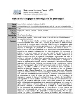 Ficha Catalográfica - Setor de Ciências Humanas