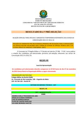 resultado da 1ª pré-seleção recife-pe - 7ª Região Militar