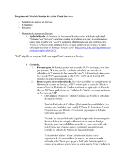 Programa de Nível de Serviço do Ariba Cloud Services • Garantia