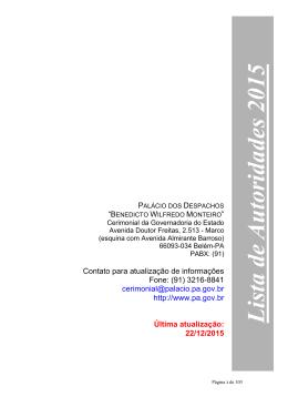 Lista de autoridades - Governo do Estado do Pará