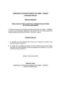 COMPANHIA DE DESENVOLVIMENTO DE CAMBÉ
