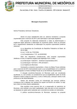 Mensagem Orçamentaria - Câmara Municipal de Mesópolis