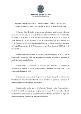 Instrução Normativa OGU nº01/2014 - Controladoria