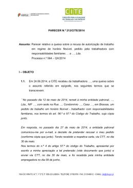 PARECER N.º 212/CITE/2014 Assunto: Parecer relativo a queixa