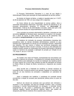 Processo Administrativo Disciplinar - Procedimentos