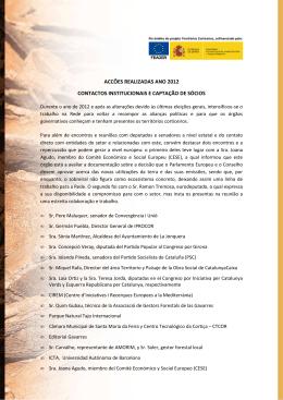accões realizadas ano 2012 contactos institucionais e