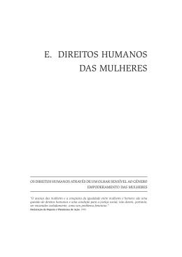 E. DIREITOS HUMANOS DAS MULHERES