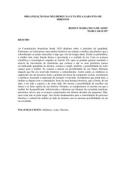 ORGANIZAÇÃO DAS MULHERES NA LUTA PELA GARANTIA DE