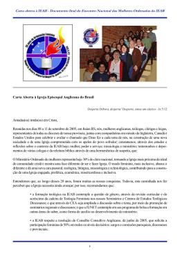 Documento final do Encontro Nacional das Mulheres Ordenadas da